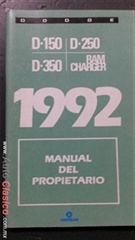 manual del propietario del Dodge Pick up: D-150,D-250,D-350 y Ram Charger 1992