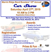 10th Annual Marvin Ridge Band Boosters' Car Show